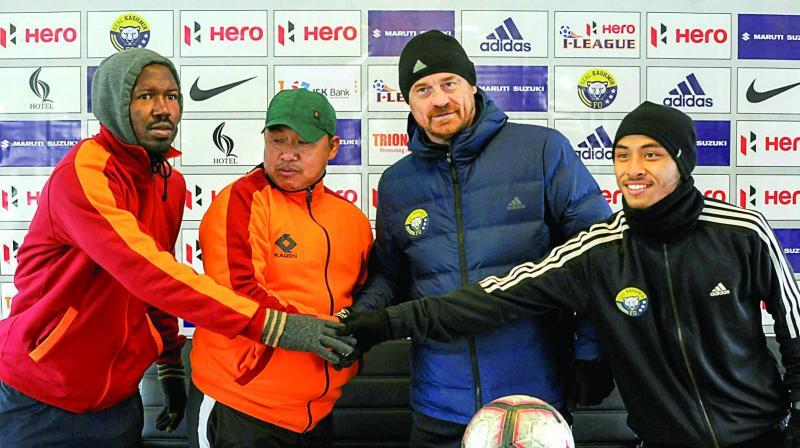 Real Kashmir coach David Robertson (2nd right) in Srinagar before Gokulam Kerala match. (Photo: AP)