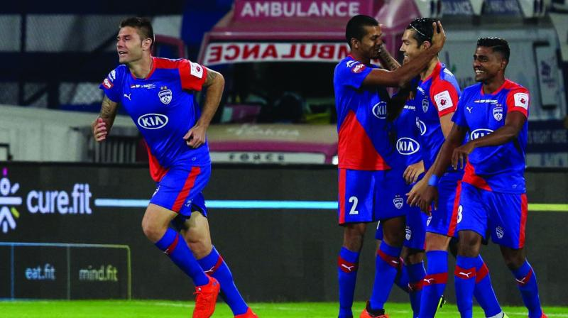 Bengaluru FC players celebrate a goal on Thursday. (Photo: ISL)