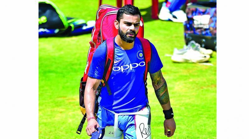 Virat Kohli leaves after a training session in Bengaluru on Tuesday. (Photo: Shashidhar B)