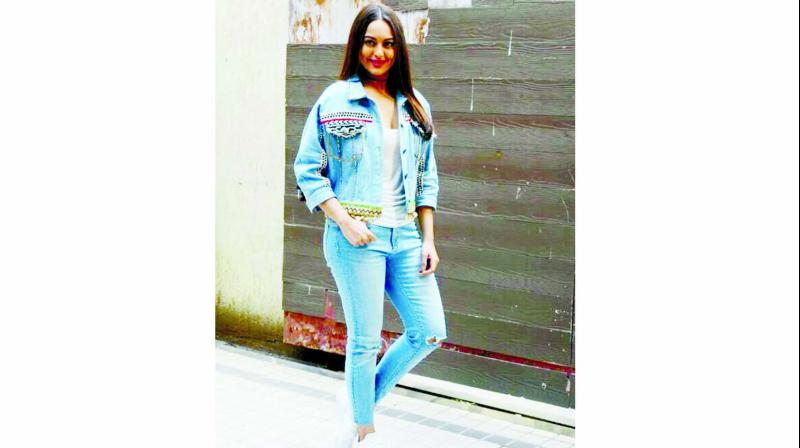 Sonakshi Sinha keeps her fashion game on point with her embellished denim jacket.