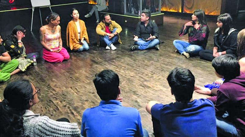 Actors in conversation during the Delhi workshops.