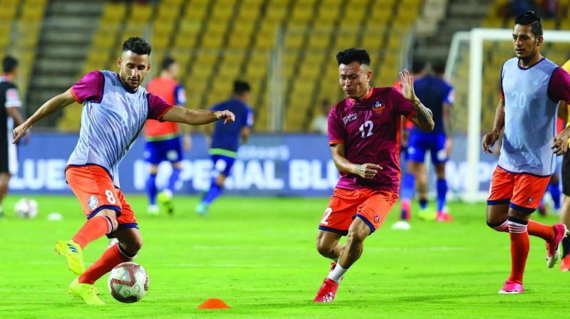 FC Goa players practice on the eve of their ISL semifinal against Mumbai City in Mumbai on Friday. (Agencies)