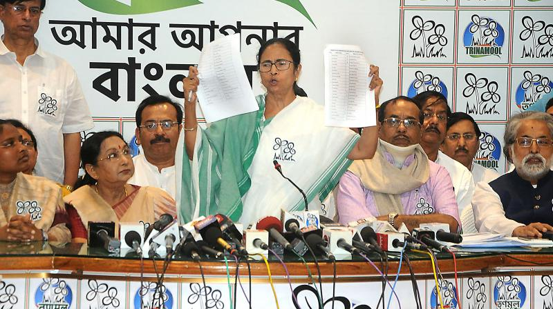 Chief minister Mamata Banerjee releases a list of party candidates for forthcoming Lok Sabha elections at her Kalighat residence on Tuesday. (Photo: Abhijit Mukherjee)