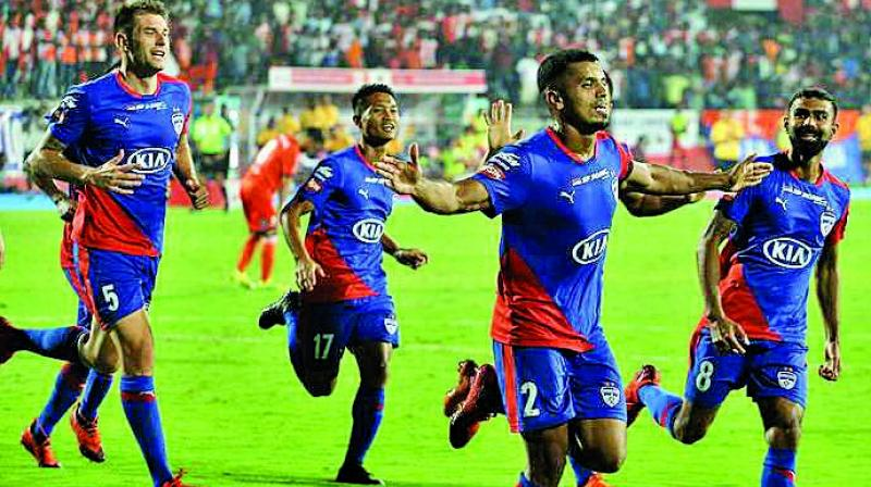 Rahul Bheke celebrating after scoring the winning goal.