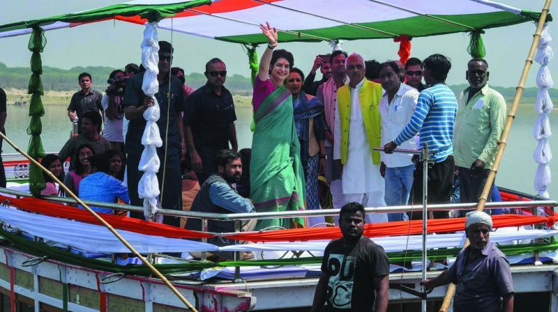 Image result for Priyanka Gandhi Vadra boat campaign