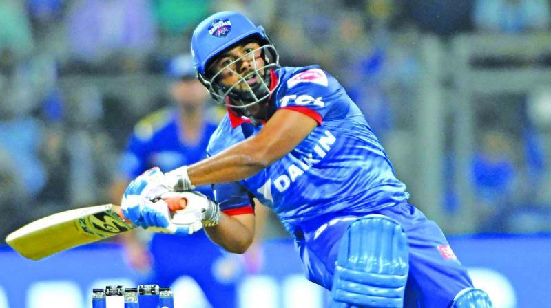 Delhi Capitals' Rishabh Pant goes for a big swing against Mumbai Indians on Sunday. (Photo: Rajesh Jadhav)