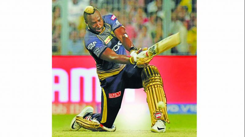 Andre Russell en route to his match-winning knock for KKR. (Photo: PTI)