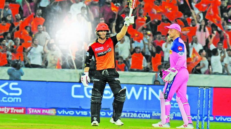 David Warner celebrates his  half-century against Rajasthan Royals. (Photo: P. Surendra)
