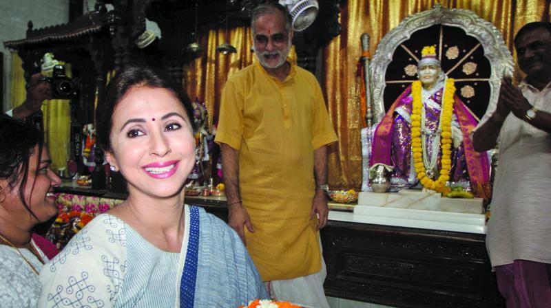 Urmila Matondkar visits Sai Baba temple in Borivali. (Photo: Mrugesh Bandiwadekar)
