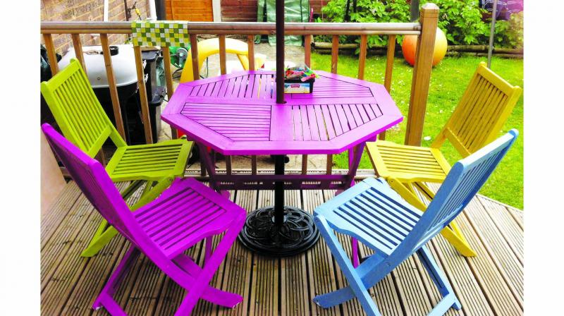 Refurbish your outdoor furniture with paint.