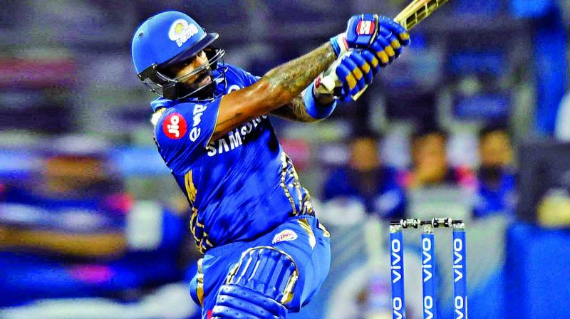Mumbai Indians batsman Suryakumar Yadav plays a shot against Chennai Super Kings during their IPL match at Wankhede Stadium. (Photo Credit: Rajesh Jadhav)
