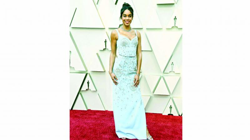 Laura Harrier stuns in an embellished pale blue gown.