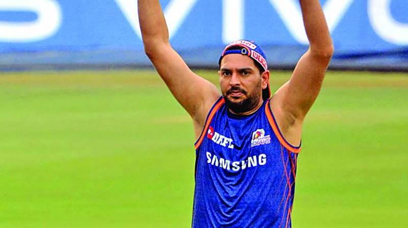 Mumbai's Yuvraj Singh during a training session in Hyderabad. (Photo: DC)