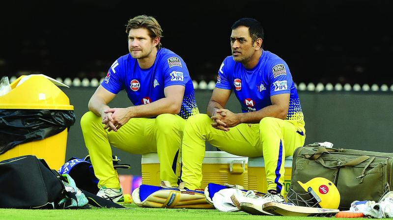 Shane Watson (left) and M.S. Dhoni during a training session in Chennai on Monday. (Photo: DC)DC