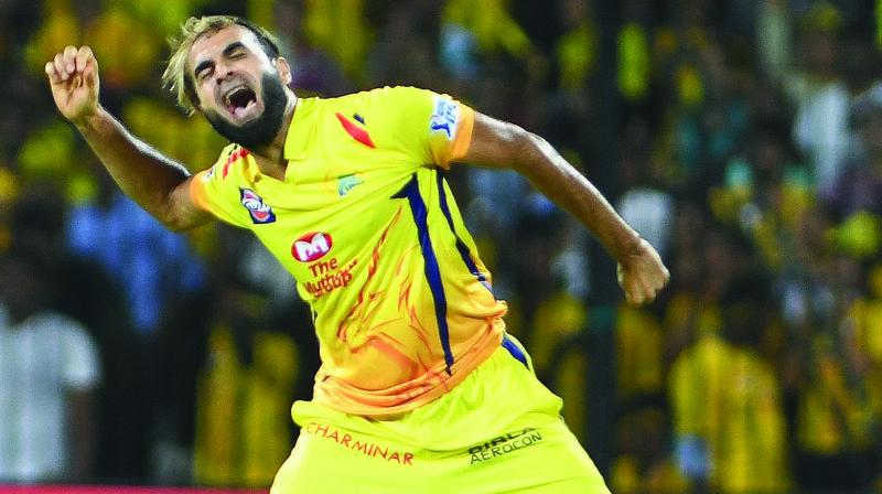 CSK bowler Imran Tahir celebrates a KKR wicket in Chennai on Tuesday.	(Photo: E. K. Sanjay)