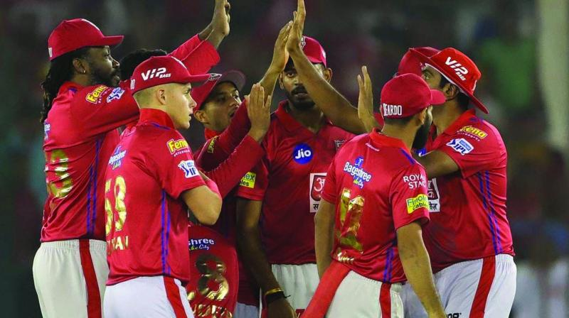 Kings XI Punjab players celebrate the wicket of Jonny Bairstow of Sunrisers Hyderabad in their match in Mohali on Monday. (Photo: BCCI)