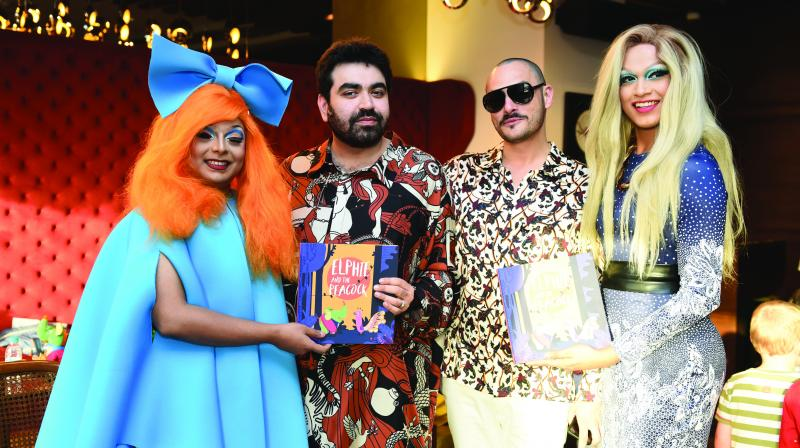 Drag queen Lush Monsoon, Keshav Suri, Cyril Feuillebois and Drag queen, Betta Naan Stop.