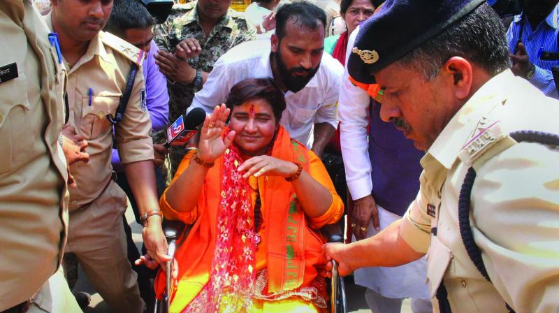 On April 17, 2019, soon after joining the BJP, Malegaon blast accused Sadhvi Pragya Singh Thakur's name was announced as the party candidate. (Photo: File)