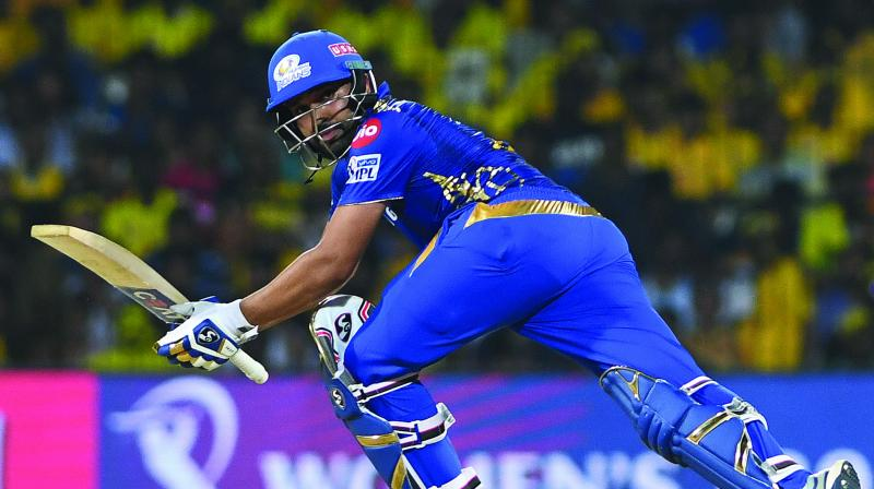 Mumbai Indians captain Rohit Sharma plays a shot during the match against Chennai Super Kings at the M. A. Chidambaram Stadium in Chennai on Friday. (Photo: E. K. Sanjay)