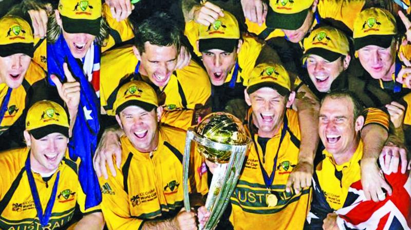Australia celebrate their World Cup hat-trick in 2007.