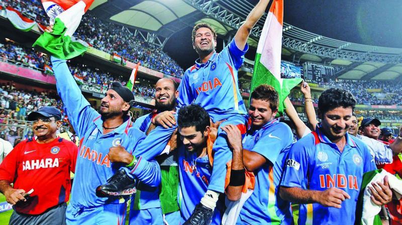 Virat Kohli carries Sachin Tendulkar as Team India celebrate their 2011 World Cup triumph.