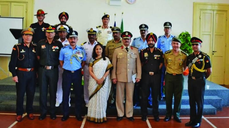 Indian ambassador to Italy, Reenat Sandhu and a group of Indian, Italian and other foreign officers at the Urn Presentation ceremony.