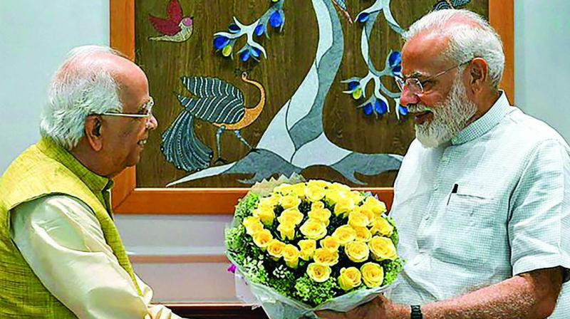 Prime Minister Narendra Modi meets West Bengal  governor Keshari Nath Tripathi in New Delhi on Monday. (Photo: PTI)