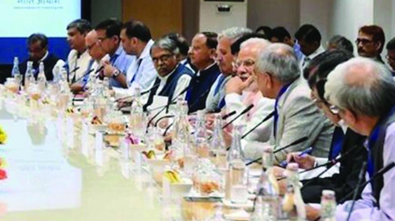 Prime Minister Narendra Modi meets top economists at Niti Aayog in New Delhi on Saturday.