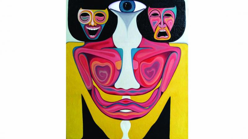 The exhibition showcases contemporary Indian artists  experimenting with new art forms.