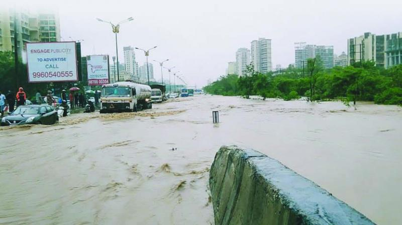 Apart from landfill activities, rampant quarrying in the hills of Kharghar and adjacent areas had led to rainwater gushing from the higher slopes onto roads. (Photo: Asian age)