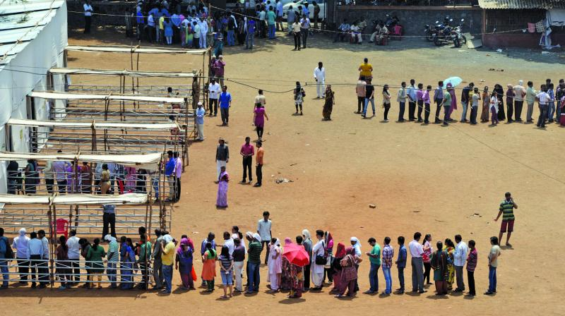 File photo of people voting in the local body polls.