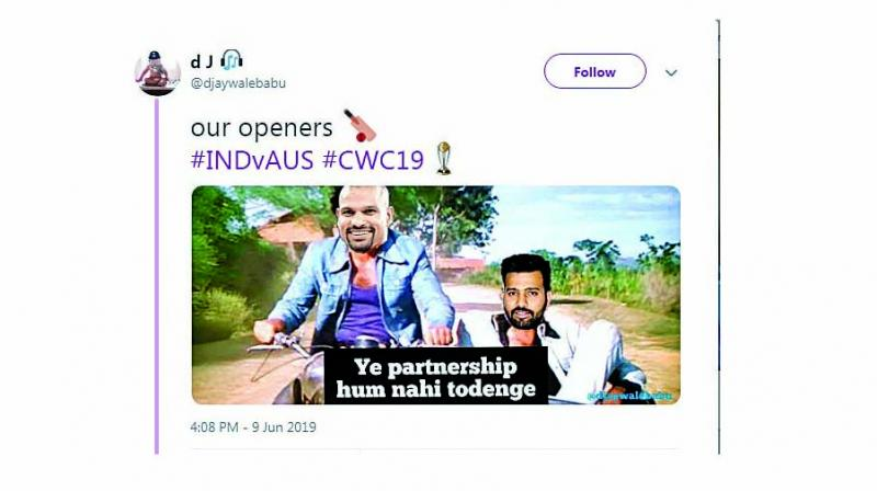 While Shikhar Dhawan and Rohit Sharma became the new Jai-Veeru (one of the memes was captioned 'Ye partnership hum nahi todenge'), cricket enthusiasts had a meme fest when the World Cup broadcasters tweeted about Virat Kohli's Delhi school sending soil from the school ground to London to bless the captain.