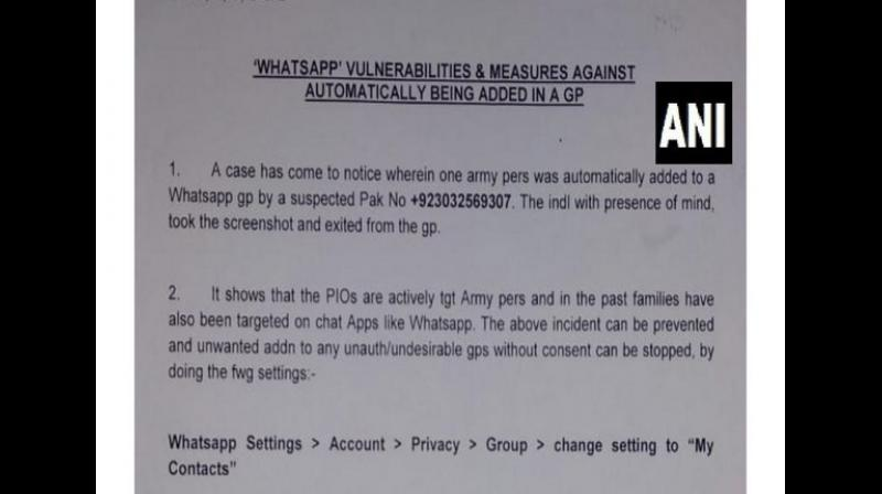 It suggested that Army officers and their families should change settings of their WhatsApp chats where they can be added to groups only by those people who are present in their contact list. (Photo: ANI)