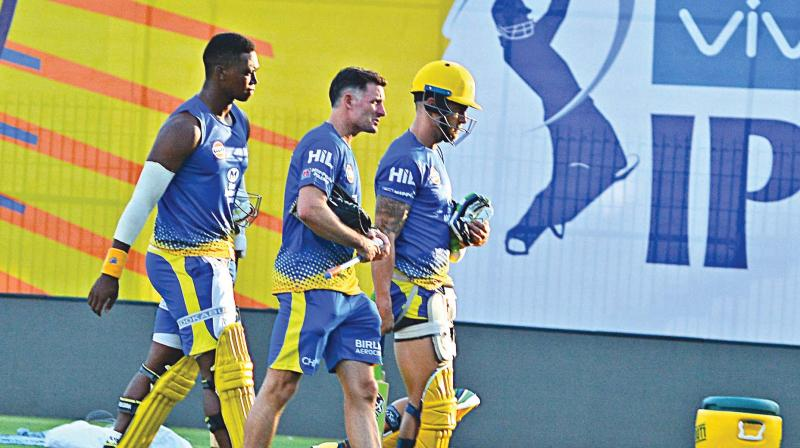 Team members of the Chennai Super KIngs at a training session on Monday. (Photo: E.K. Sanjay)