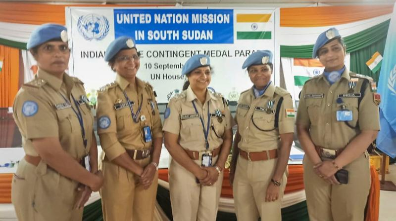 The women officers were honoured by the UN for upholding the UN mandate of protection of civilians in conflict-ridden South Sudan. (Photo: Twitter | All India Radio)
