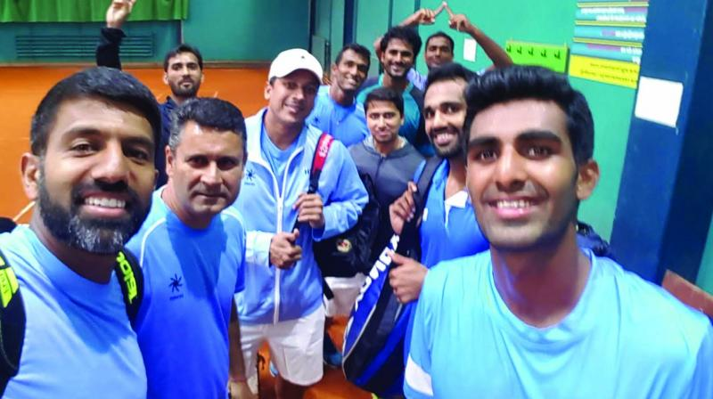 The Indian team pose for a selfie in Belgrade.