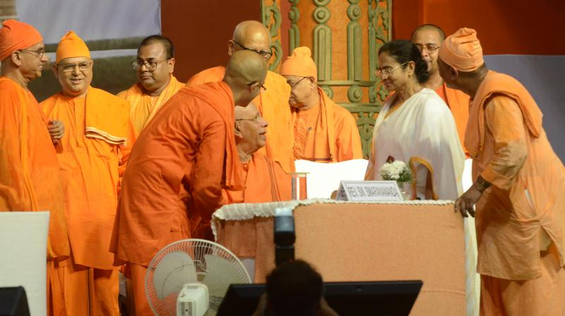 Chief minister Mamata Banerjee at Belur Math, near Kolkata on Tuesday, during the 125th year celebration of Swami Vivekananda's return from Chicago. (Photo: Asian Age)