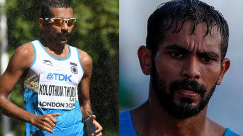 Triple jumper Rakesh Babu (Right) and race-walker Irfan Kolothum Thodi (Left) were stripped of their accreditation and ordered to take the first available flight home, Games president Louise Martin said. (Photo: AFP)
