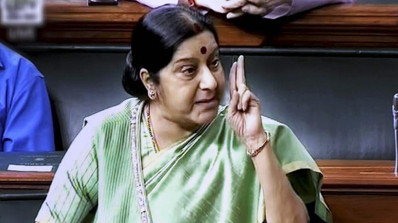 External Affairs Minister Sushma Swaraj speaks in the Lok Sabha in New Delhi. (Photo: PTI)