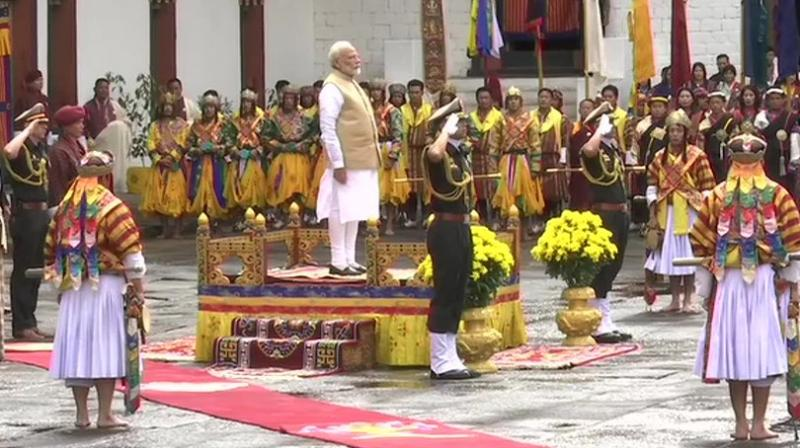 PM Modi receives guard of honour in Bhutan