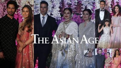 Bollywood stars Shahid Kapoor, Akshay Kumar, Kriti Sanon, Aishwarya Rai Bachchan and abhishek Bachchan, Sonali Bendre and others graced Akash Ambani-Shloka Mehta post-wedding celebration. (Photos: Mrugesh Bandiwadekar)