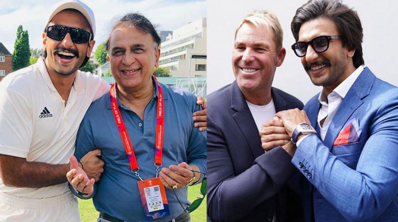 Ranveer Singh with the 'Little Master' Sunil Gavaskar and 'Spin King' Shane Warne. (Instagram)