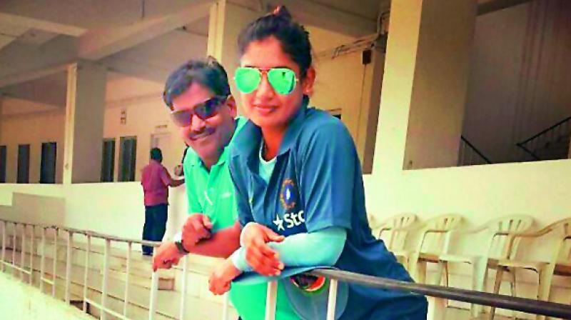 Indian women cricket team captain Mithali Raj with her coach RSR Murthy