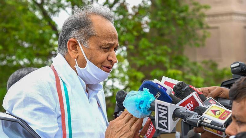 Rajasthan CM Ashok Gehlot speaking to mediapersons in this file image. (PTI)
