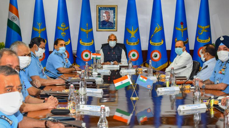 Defence Minister Rajnath Singh with other air force commanders at the meeting. (PTI)