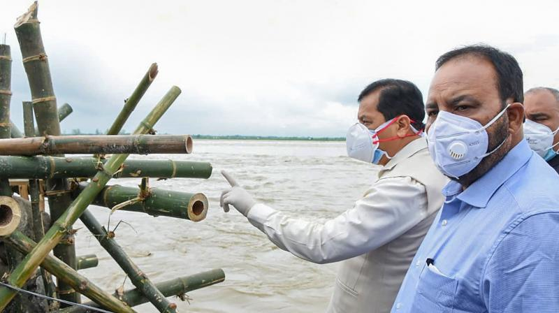 Assam Chief Minister Sarbananda Sonowal at one of the affected sites on Wednesday. (PTI)