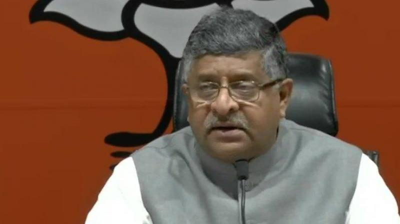 Union minister for law and judiciary, Ravi Shankar Prasad (Photo: ANI)