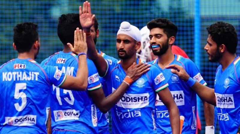 Captain Harmanpreet Singh (7') set the ball rolling before Shamsher Singh (18'), Nilakanta Sharma (22'), Gursahibjit Singh (26') and Mandeep Singh (27') scored for India at the Oi Hockey Stadium. (Twitter: Hockey India)