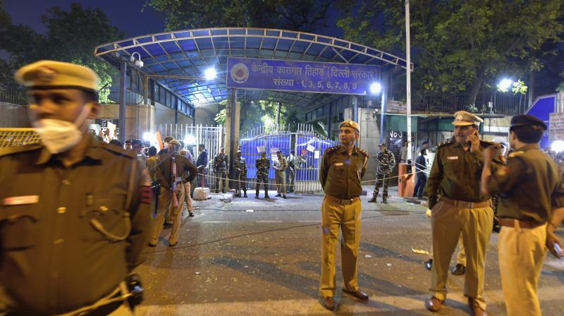 The scene outside the Tihar jail at dawn when the rape convicts in the Nirbhaya rape case were hanged.