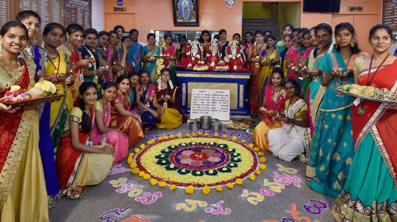 Maharashtrian artists during a programme to celebrate Marathi new year festival Gudi Padwa in Varanasi on Tuesday. (Photo: PTI)
